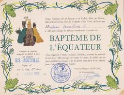 Certificat De BAPTEME Paquebot: S/S JADOTVILLE. Délivré à Bord, Le 2-8-1956 - Documents Historiques