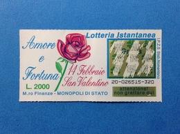 BIGLIETTO LOTTERIA ISTANTANEA GRATTA E VINCI USATO L. 2000 AMORE E FORTUNA SAN VALENTINO - Billets De Loterie