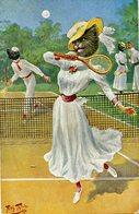 Arthur Thiele - Chat, Chatte Humanisée Avec Chapeau, Tennis - Katzen