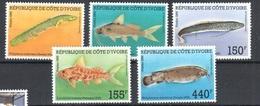 Very Fine Mnh ** Ivory Coast 10 Euros Fish Set 1988 - Ivory Coast (1960-...)