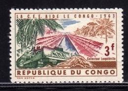 CONGO 1963 LA CEE AIDE Bulldozer And Kabambare Sewer, Leopoldville 3f MNH - Congo - Brazzaville
