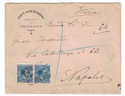ESPAGNE SPAIN - LETTRE COVER RECOMMANDÉE REGISTERED CERTIFICADO De GRANADA Pour NAPOLI ITALIE ITALIA JUAN AFAN DE RIBERA - 1889-1931 Royaume: Alphonse XIII
