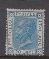 Italy S 26 1867 King Victor Emmanuel II,20c Blue, Mint Hinged - Mint/hinged