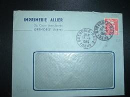 LETTRE TP M. DE GANDON 15F OBL.23-8 1949 GRENOBLE-GARE ISERE (38) + IMPRIMERIE ALLIER - Railway Post