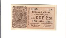 Vittorio Emanuele III° 2 Lire 16 11 1922 Sup/fds N.c.  LOTTO 1527 - [ 1] …-1946 : Kingdom