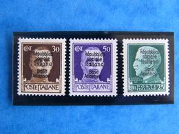 Lot 3 Timbres Neuf 1944 - 3ème Série - Répubblica Sociale Italiana Base Atlantica Bordeaux - Wars
