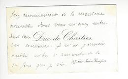 Prince Robert D'Orléans (1840-1910) Duc De Chartres Carte De Visite AUTOGRAPHE AUTOGRAPH /FREE SHIP. R - Autogramme & Autographen