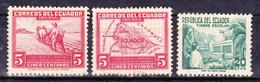 ECUADOR 1938-1952 POSTAL TAX STAMPS ECUADOR MAP FARMER PLOWING TEACHER & PUPILS IN SCHOOLYARD MNG SC# RA41-48-63 - Ecuador
