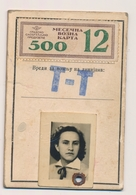 1952  Female Annual Ticket For Bus With Monthly Coupons Transportation  Serbia Beograd - Abonnements Hebdomadaires & Mensuels