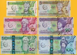 Turkmenistan Set 1 5 10 20 50 100 Manat 2017 Commemorative UNC Banknotes - Turkmenistan