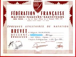 --  BREVET De NATATION / FEDERATION FRANCAISE Des MAITRES - NAGEURS - SAUVETEURS / Epreuves Utilitaires -- - Diploma & School Reports