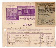 1930 YUGOSLAVIA, BOSNIA JUDAICA, SARAJEVO, AVRAM LEVI SADIC, INVOICE, FISKAL STAMP UNDER THE RECEIPT - Invoices & Commercial Documents