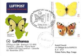 Luftpost Deutschland Lufthansa Erstflug 2010 Non Stop LH 589 B737-800 Frankfurt/M-Ponte Noire - Avions