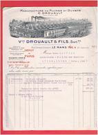 FACTURE 1931 MANUFACTURE DE PLUMES ET DUVETS DROUAULT RUE CONSTANT DROUAULT A LE MANS SARTHE - France