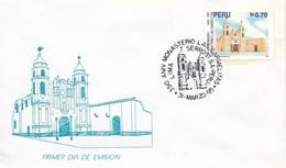 PERU 1995 350th Anniversary Of Monastery Las Carmelitas, Building, Religion, FDC Religion, First Day Cover - Pérou