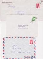 Lot 3 Lettre Annulation à L'arrivée Griffe Linéaire PARIS VIII & 09 Sur Sabine 1,00 1,20 Et 1,60 Dont Cachet De Facteur - 1960-.... Storia Postale