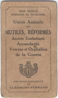 MILITARIA - Union Mutilés Réformés Anciens Combattants - Carte De Membre - Avec Timbres  1933/1939 - Documenten