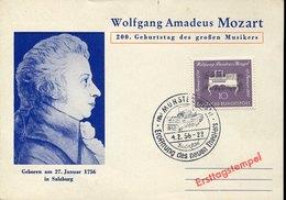 45198  Germany, Special Card With Special Postmark 1956 Munster,amadeuz Mozart Zauberflote,eroffnung Neuen Theater - Music