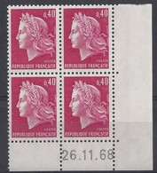 MARIANNE CHEFFER N° 1536B - Bloc De 4 COIN DATE - NEUF SANS CHARNIERE - 26/11/68 - Coins Datés