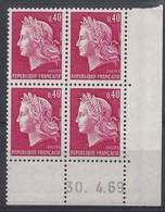 MARIANNE CHEFFER N° 1536B - Bloc De 4 COIN DATE - NEUF SANS CHARNIERE - 30/4/69 - Coins Datés