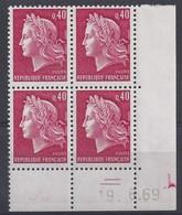 MARIANNE CHEFFER N° 1536B - Bloc De 4 COIN DATE - NEUF SANS CHARNIERE - 19/6/69 - Coins Datés