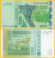West African States 5000 Francs Benin (B) P-217B 2018 UNC Banknote - West-Afrikaanse Staten
