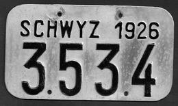 Velonummer Schwyz SZ 26 - Plaques D'immatriculation