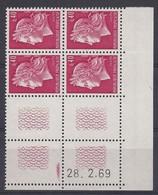MARIANNE CHEFFER N° 1536B - Bloc De 4 COIN DATE TD3 - NEUF SANS CHARNIERE - 28/2/69 - Coins Datés