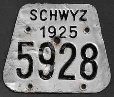 Velonummer Schwyz SZ 25 - Plaques D'immatriculation