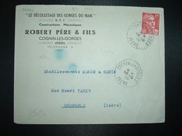 LETTRE TP M. DE GANDON 15F OBL. Tiretée 15-2 50 COGNIN LES GORGES ISERE (38) ROBERT CONSTRUCTIONS MECANIQUES - Storia Postale