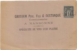 SAGE 1C SEUL IMPRIME NARBONNE  CARTE PRIVEE PUB NARBONNE GAUSSEM 1889 - Marcophilie (Lettres)