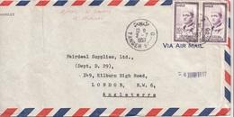 BRIEF MAROC 1957 - 2 Fach Frankiert, Gel.von Tanger Nach London, Brief Mit Faltstelle - Marokko (1956-...)