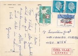 TÜRKEI EXPRESS - 4 Fach Frankierung Auf Ak IZMIR, Gel.1977? - 1921-... Republik