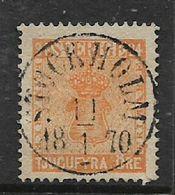 Sweden 1859, 24 Ore Orange, Used, Near Complete STOCKHOLM 18. 1 . 70 , C.d.s. - Sweden