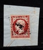 YV 17A Oblitéré Pc (2642 De Reims ?), 4 Marges , Sur Fragment Cote 70 Euros - 1853-1860 Napoleone III