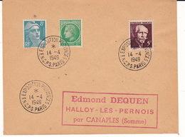 Lettre 1949 Avec Oblitération Temporaire TàD Manuel A6/7 PARIS FNCPG EXPOSITION PROVINCES - Storia Postale