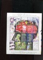 Belgie 2001 BL92 TYPE A 'snijblok Rechts' Lindbergh Prigogine Marie Curie Beauvoir Einstein Chardin Weber Freud - Blocks & Sheetlets 1962-....