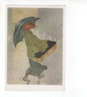 05152 Theophile Steinlen  French Art Nouveau Painter Lady Rain Umbrella - Malerei & Gemälde