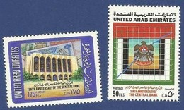 UNITED ARAB EMIRATES UAE MNH 1990 TENTH ANNIVERSARY OF THE CENTRAL BANK BIRD FALCON BUILDING - United Arab Emirates