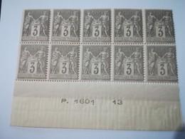 Bloc De 10 : Type SAGE (YT N°87) 3c Gris II - 1876-1898 Sage (Tipo II)