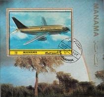 Manama 1972 Bf.  Plane Aereo Boeing 737 Aviazione Civile CTO Sheet Perf. - Vacanze & Turismo