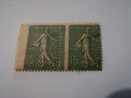 Bloc 2 Timbres Impression Décalée SEMEUSE LIGNEE 15c Vert YT 130 - 1903-60 Semeuse Lignée