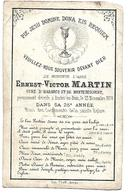 Carte Décès Ernest-Victor Martin, Curé D'Habarcq Et De Montenescourt. 1874 Berles-au-Bois, - Décès