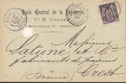FRANCE Lettre De MARSEILLE Bd De Lacordere Du 27 Juin 1899 Via CREST (Drome) Dock Gle Papeterie - 1877-1920: Période Semi Moderne