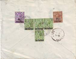 LEVANT ANGLAIS Lettre Recommandee Timbres Obl CONSTANTINOPLE BRITISH POST OFFICE 1922 - 1877-1920: Période Semi Moderne