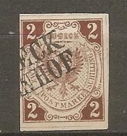 LUBE - Yv. N° 3  Mi. N° 3  Filigrane Myosotis  (o)    2s  Brun    Cote 40 Euro  BE  2 Scans - Luebeck