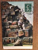 CPA, Mounting The Pyramide, écrite, Timbre, édition Lichtenstern & Harari, Cairo - Piramidi
