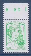 = Marianne Et La Jeunesse Gommée X 1 Lettre Verte -50g, 4775  De Feuille - 2013-... Marianne De Ciappa-Kawena
