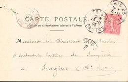 FRANCE  CP PARIS Rue Danton 5 Nov 1905 (semeuse 10c Vert) Vers SURGERES Taxe Au Verso 10c - 1877-1920: Période Semi Moderne