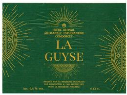 Etiquette Bière La Guyse 33 Cl Brasserie Purleuse, Ath Bier Etiket Beer Label Front + Back - Beer